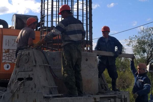 Монтаж арматурного каркаса БНС№10 опоры №23
