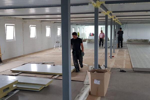 Монтаж здания столовой и устройство внутренней отделки на строительной площадке №2