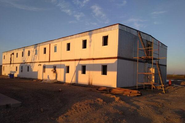 Устройство модульного общежития на строительной площадке №2