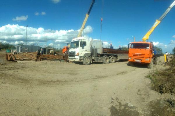 Монтаж временного электроснабжения 10кВ. Левый берег на технологической площадке для сооружения опоры№22
