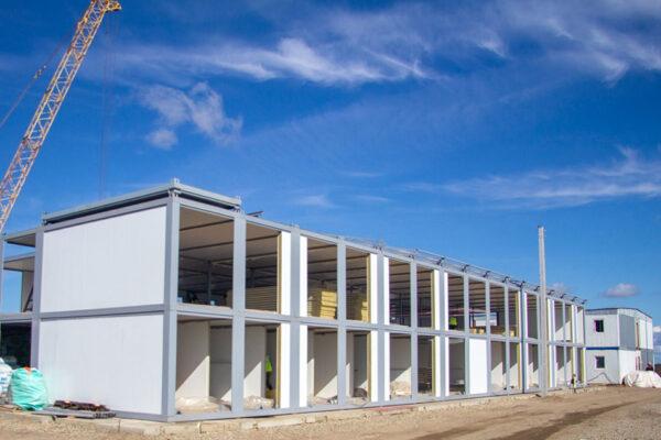 Монтаж здания общежития на строительной площадке №2