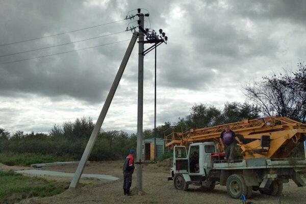 Монтаж временного электроснабжения 10кВ. Левый берег р. Зея